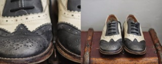 vintage brogues black and cream office shoes