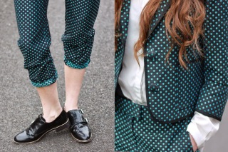 Smart, Suit, Fashion, Smart fashion, Topshop, American Apparel, Leather shoes, office, high fashion, preppy, polka dot, patterned suit,