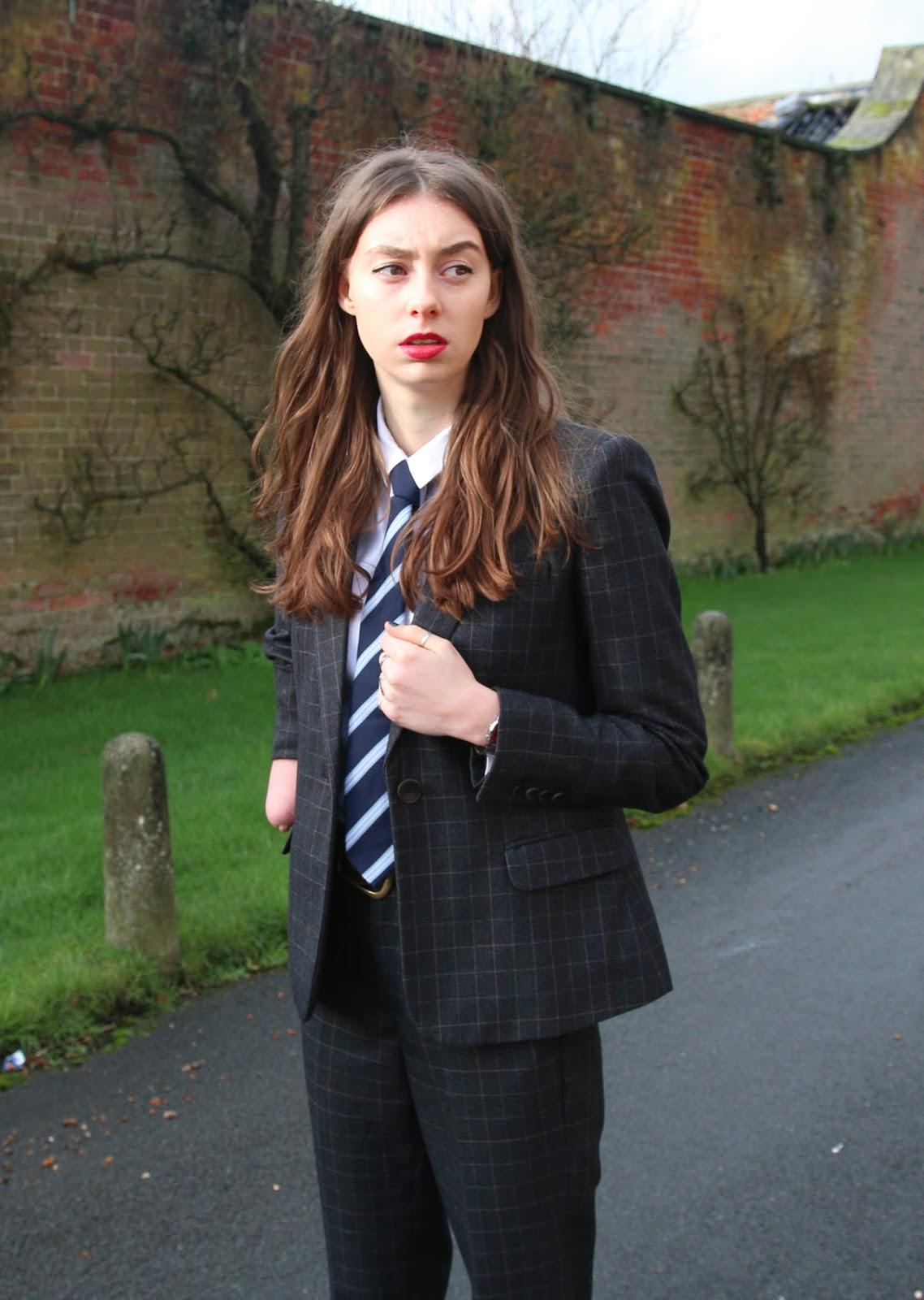 woman in suit, zara, female, women, suit, smart, two piece, zara suit, tie, penguin tie, lipstick, grace mandeville, mandeville sisters,