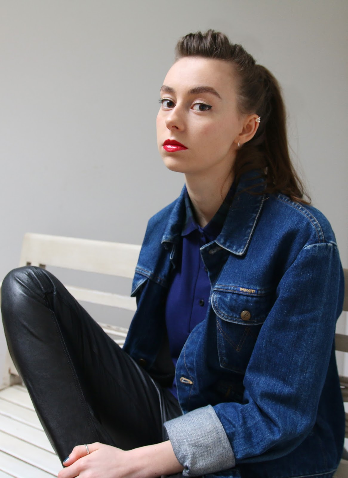 Grace Mandeville, Mandeville Sisters, Mandeville, Sisters, Bloggers, British Sisters, Fred Perry, Outfit, OOTD, Tartan, Polo, Wrangler Denim, Lipstick, Peircing, leather, all saints leather trousers,