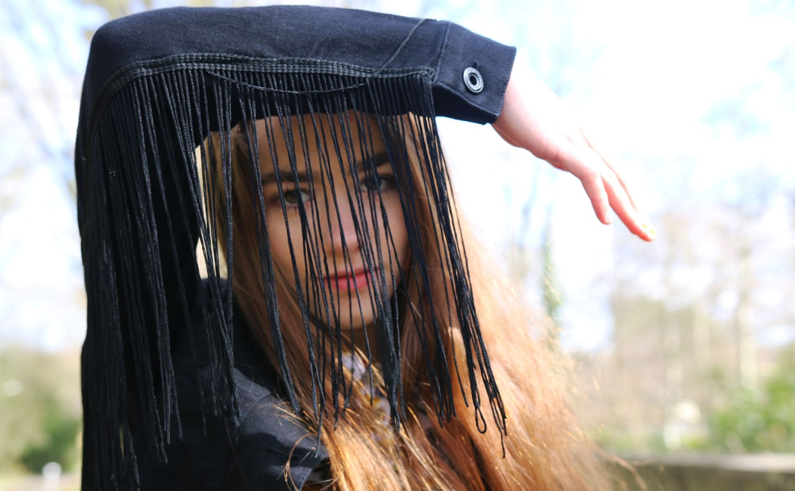 tassle, jacket, summer, LA, OTTD, Amelia, Model, posing, black, fringed, tassled, denim, denim jacket, close up, eyebrows