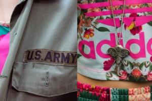 Adidas, Adidas Originals, Originals, Vintage, Army, Army Shirt, Bun, Brunette, Mandeville Sisters, Youtuber, Blogger, Sisters, British, Eyeliner, Lipstick, Sandals, Travel, Grace Mandeville, Mandeville Sisters