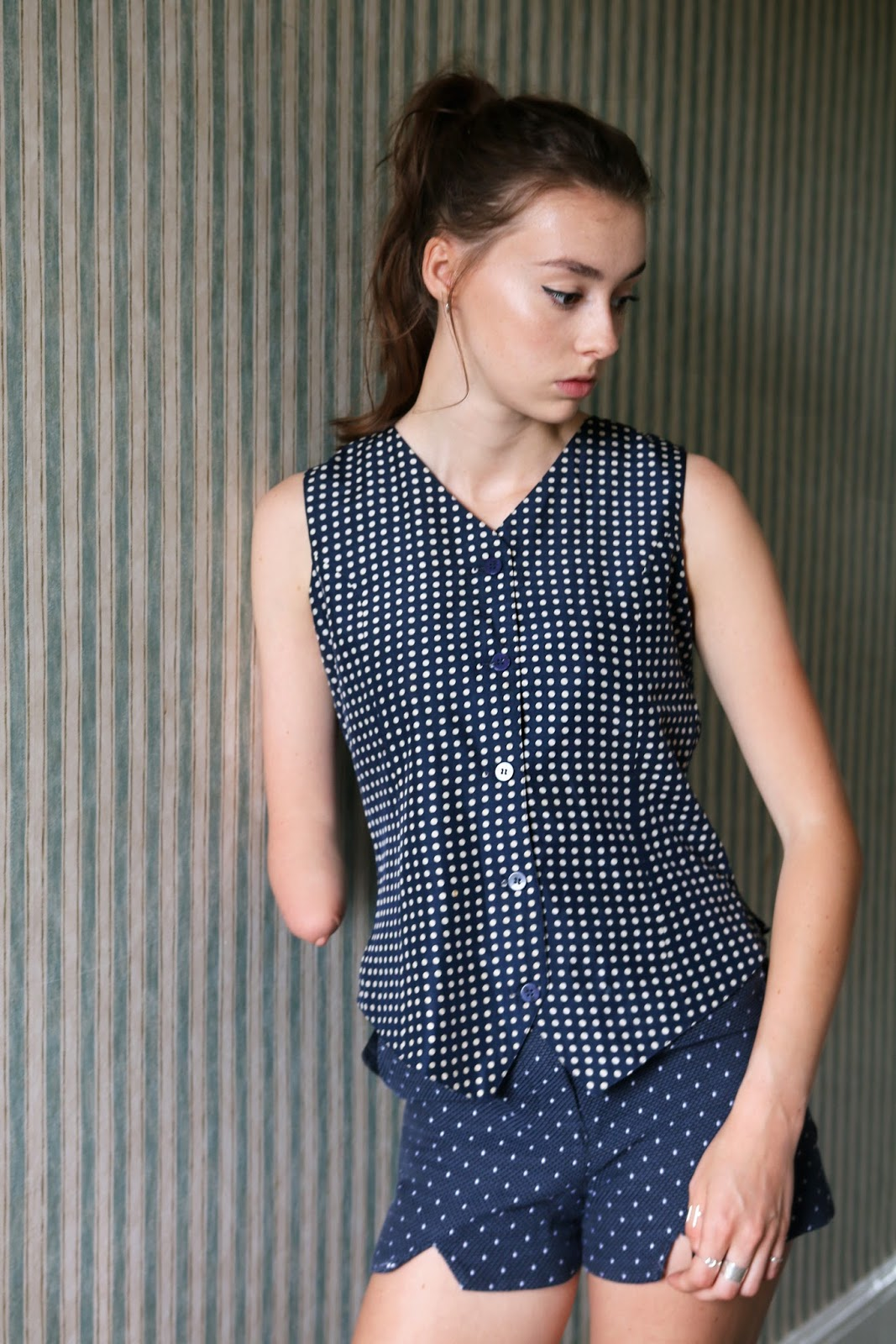 vintage waistcoat, vintage clothing, vintage outfit, polka dot shorts, ootd, fashion blogger, british, grace mandeville, mandeville, one hand, amputee,  fashion sisters, sisters, mandeville sisters, beauty blogger, british, top,
