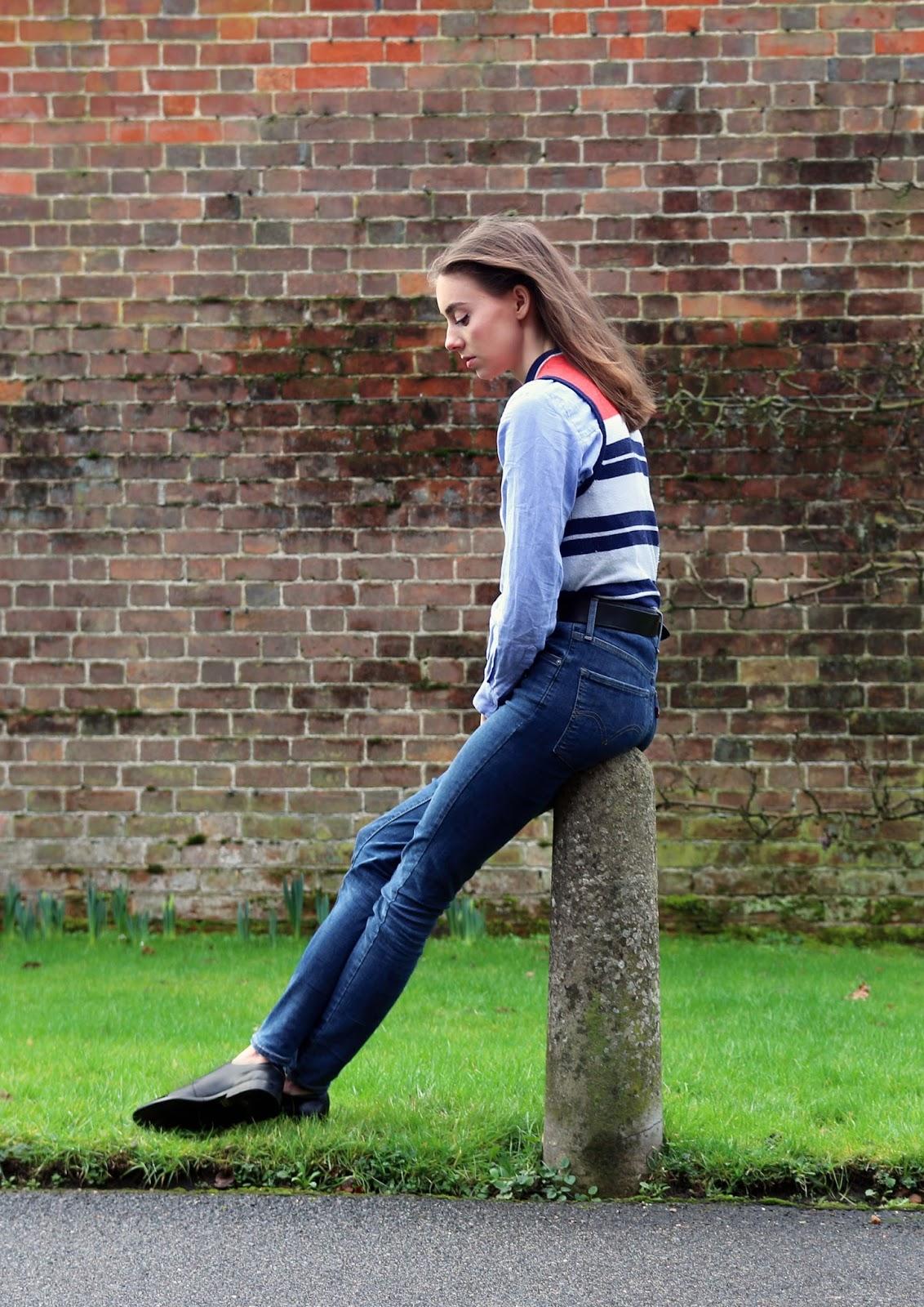 levis skinny jeans, mandeville sisters, fashion blogger, uk, sisters, grace mandeville, stripey jumper