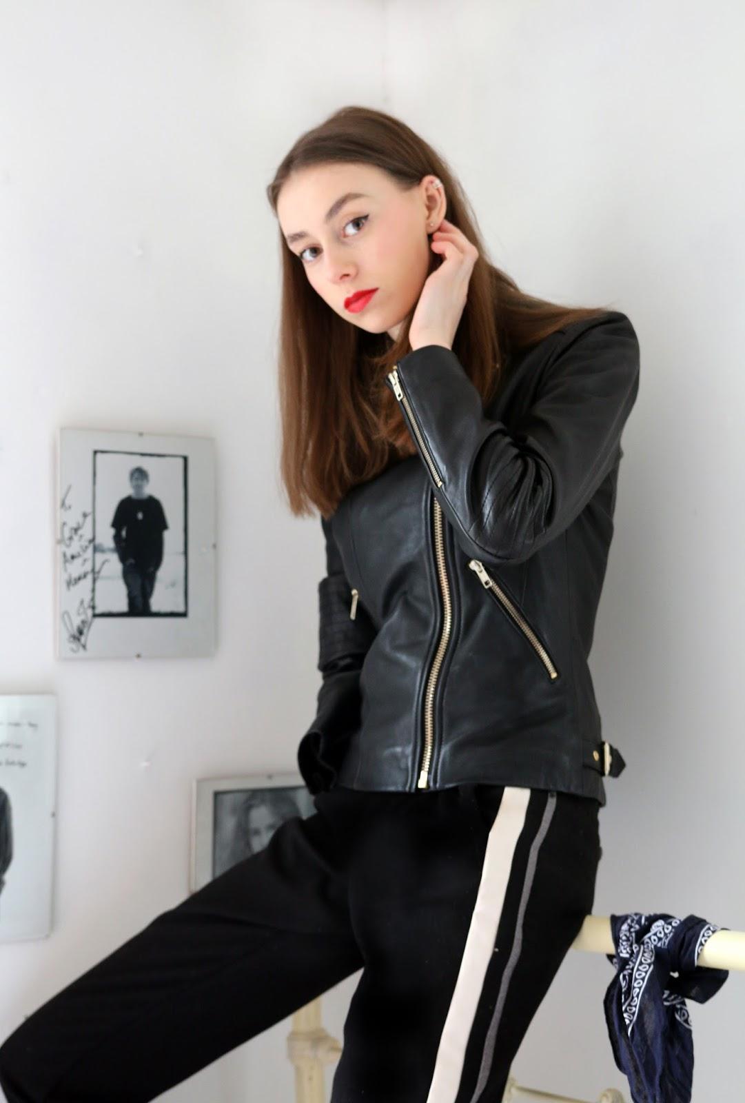 leather jacket, reiss leather jacket, biker jacket, blogger, mandeville sisters, grace mandeville