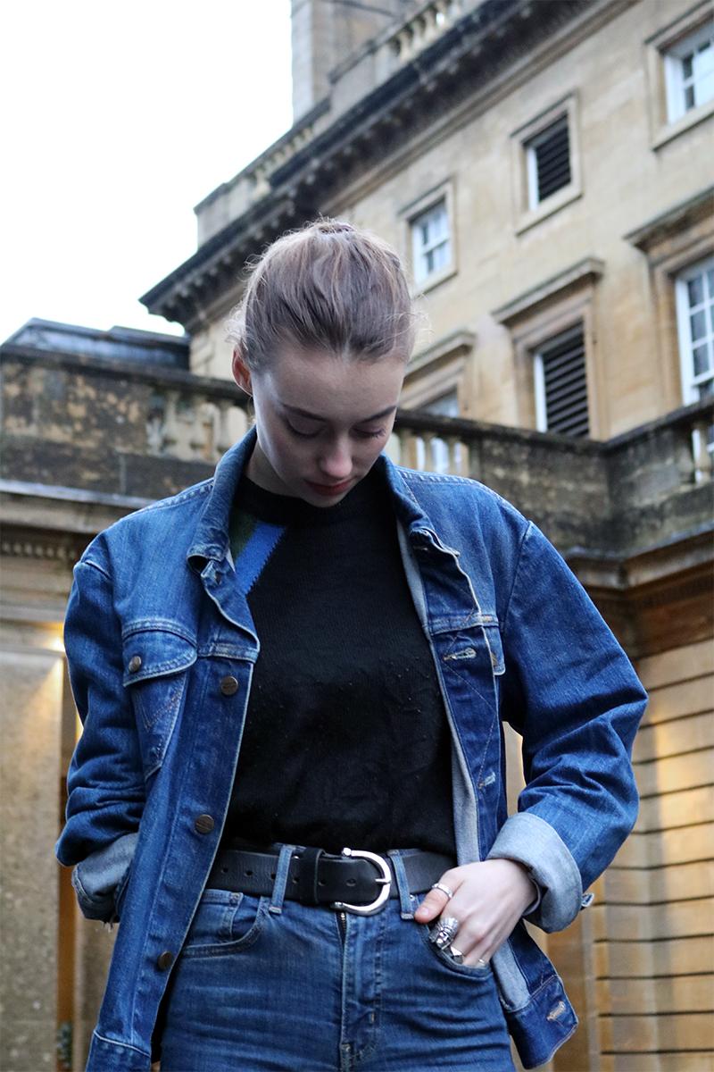 Grace Mandeville wearing double denim, levis jeans, wrangler jacket, dr marten boots,