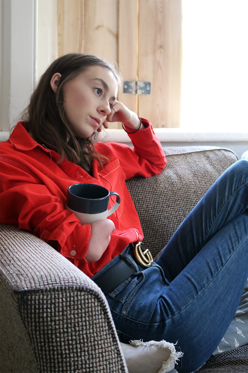 british fashion blog, red shirt, double denim outfit, gucci belt, blogger,