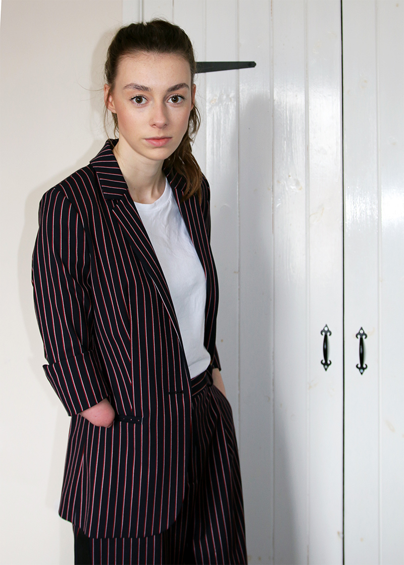 ted baker suit woman, fashion, tailored, pinstripe suit, two piece, blogger, grace mandeville, diverse blogger, disabled, grace mandeville fashion